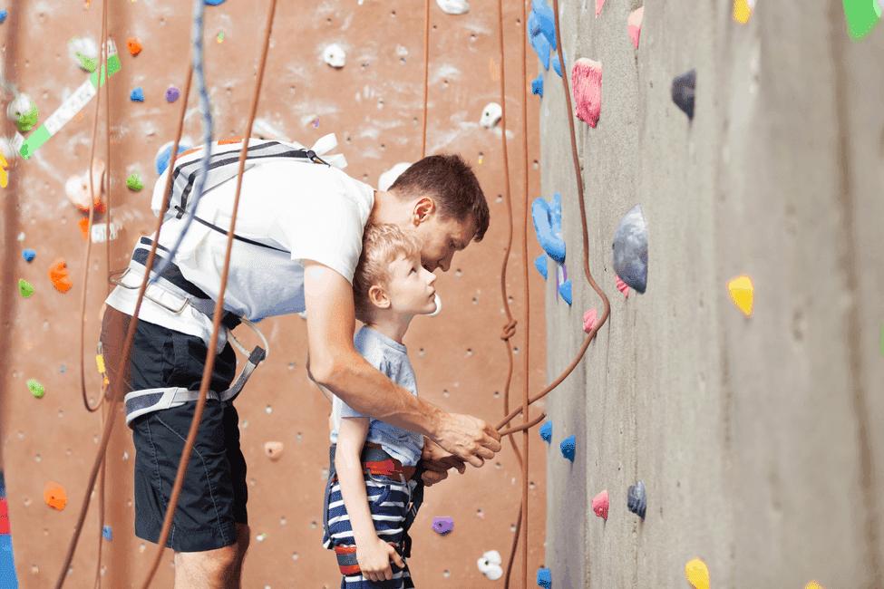 Father & Son Rock Climbing