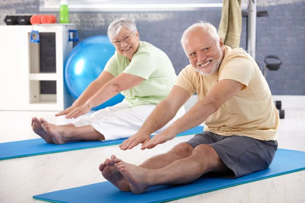 Elderly Couple Stretching