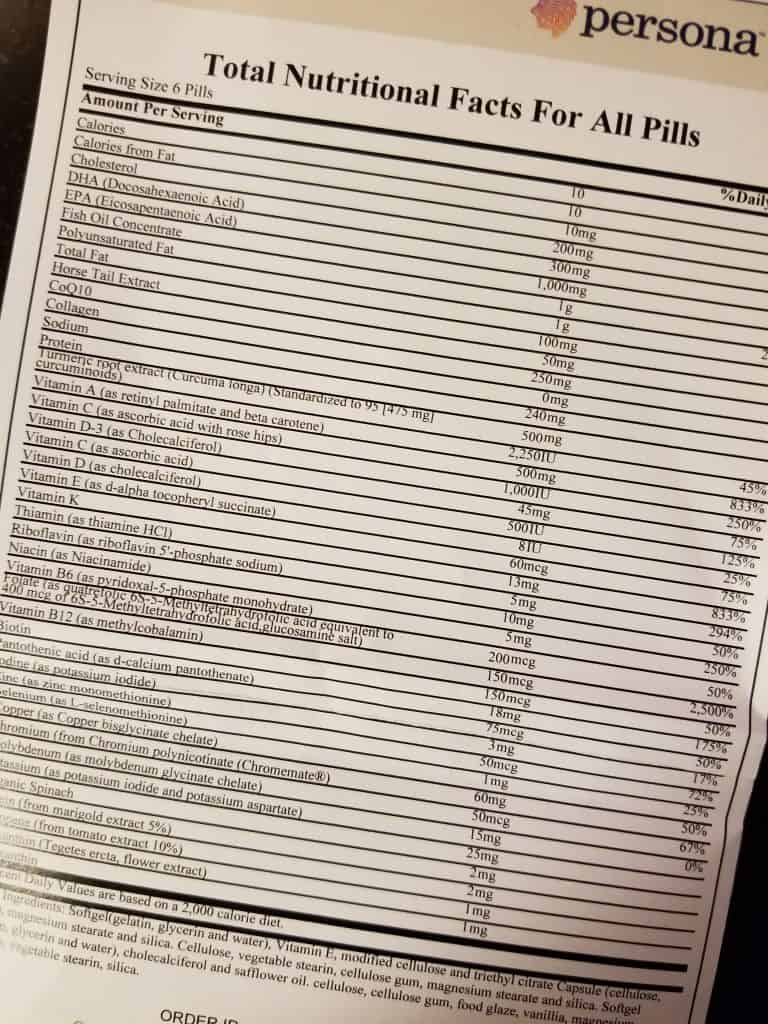 Persona Nutrition Ingredient Facts