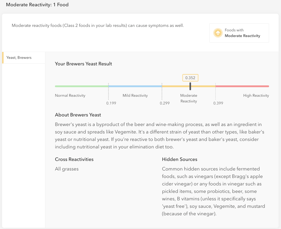 Everlywell Food Sensitivity test results - Moderate