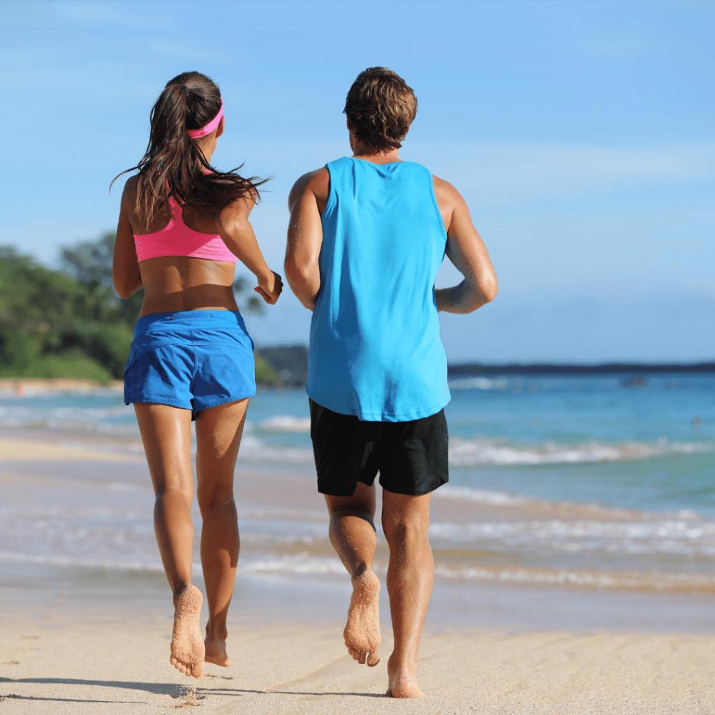running on beach barefoot